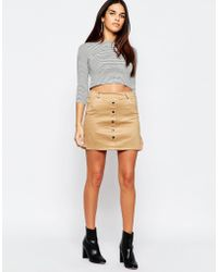 Wal-G - Suedette Skirt With Button Front - Beige - Lyst