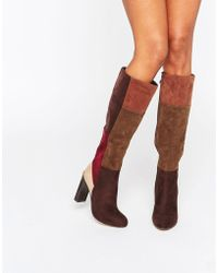 Lost Ink - Gypsy Patchwork Heeled Knee High Boots - Lyst