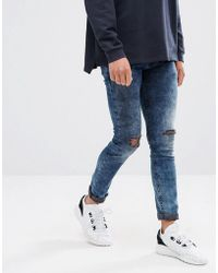ASOS - Super Skinny Jeans Blue Black Acid Wash With Knee Rips - Lyst