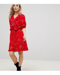 Vero Moda - Floral Printed Mini Tea Dress In Red - Lyst 9fb12dfe0