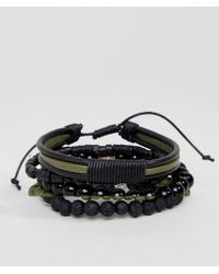 ASOS - Design Leather And Beaded Bracelet Pack In Black And Khaki With Feather - Lyst