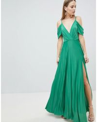 ASOS - Design Cold Shoulder Cowl Back Pleated Maxi Dress - Lyst