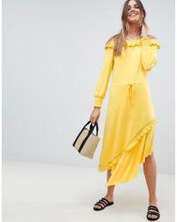 ASOS - Off Shoulder Shirred Cuff Midi Tea Dress - Lyst