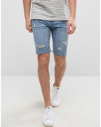Good For Nothing - Super Skinny Denim Shorts In Blue With Distressing - Lyst