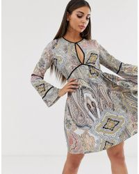 Boohoo - Smock Dress With Key Hole Detail In Mixed Paisley - Lyst