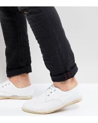 ASOS - Wide Fit Lace Up Espadrilles In White Textured Canvas - Lyst