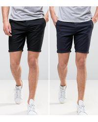 ASOS - Asos 2 Pack Skinny Chino Shorts In Black & Navy Save - Lyst