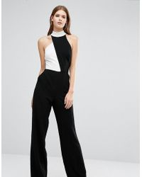 Taller Than Your Average - Ttya Black Jemanda Sleeveless High Neck Jumpsuit With Contrast Detail - Lyst