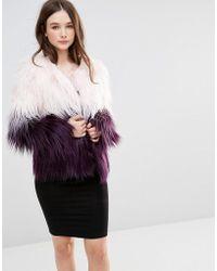 Barneys Originals Ombre Faux Fur Coat
