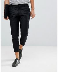 SELECTED - Smart Cropped Trousers In Black - Lyst