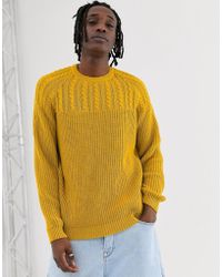 ASOS - Yoke Cable Knit Jumper In Mustard - Lyst