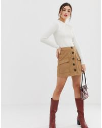 Stradivarius - Faux Suede Button Front Mini Skirt In Beige - Lyst