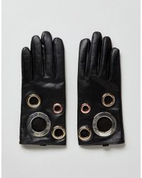 ASOS - Black Leather Eyelet Glove With Touch Screen - Lyst