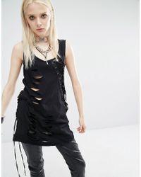 Tripp Nyc - Slash Asymmetric Lace Up Top - Lyst