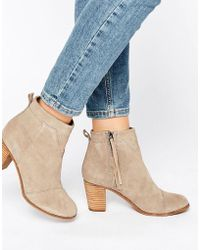 TOMS - Taupe Suede Lunata Heeled Boots - Lyst