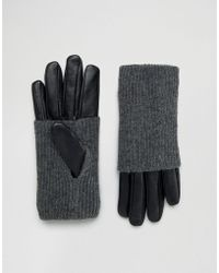 Pieces - Leather Gloves With Jersey Hand Warmer - Black - Lyst