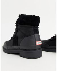 HUNTER - Insulated Black Leather Hiker Boots - Lyst