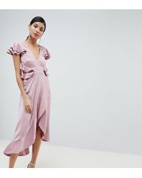 ASOS - Asos Design Tall Ruffle Midi Dress In Rippled Satin With Cut Out Back - Lyst