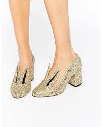Minna Parikka - Jackie Gold Glitter Bunny Ear Heeled Shoes - Lyst