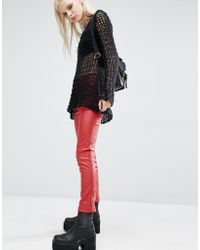 Tripp Nyc - Faux Leather High Waist Skinny Trousers - Red - Lyst