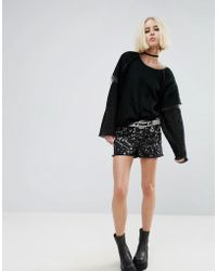 Tripp Nyc - Short With Bleach Effect And Studs - Lyst