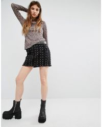 Tripp Nyc - Lace Up Skirt - Black - Lyst
