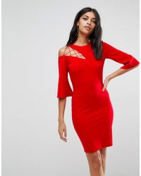 ASOS - Asos Fluted Sleeve Shift Dress With Ladder Detail - Lyst