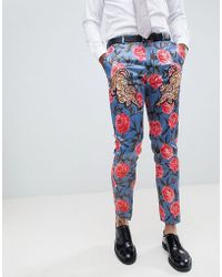 ASOS - Skinny Suit Trousers In Blue Floral Print With Tiger Patches - Lyst