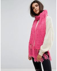 Vero Moda - Knitted Tassle Scarf - Lyst