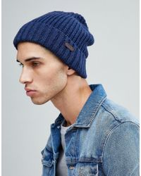 Barbour - Langley Beanie In Navy - Lyst