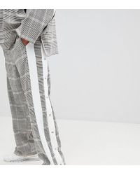 Add - joggers In Check With Side Stripe Poppers - Lyst