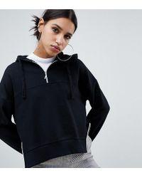 NA-KD - Zip Detail Hoodie In Black - Lyst