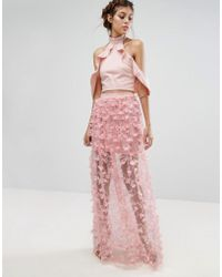 True Violet - 3d Textured Maxi Skirt - Lyst