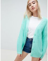 ASOS - Oversize Cardigan In Chunky Rib With Buttons - Lyst