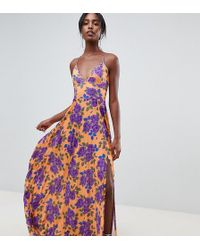 ASOS - Asos Design Tall Pleated Cami Maxi In Floral Print - Lyst