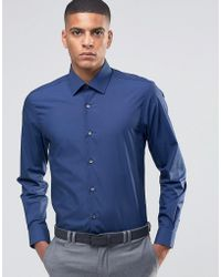 Number Eight Savile Row - Skinny Smart Shirt With Point Collar - Lyst
