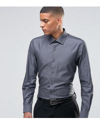 Number Eight Savile Row - Skinny Smart Shirt In Herringbone - Lyst