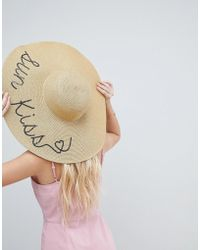 ASOS - Asos Straw Metallic Floppy Hat With Sun Kiss Sequin Print And Size Adjuster - Lyst