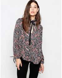 Madam Rage - Blouse With Ruffle Neck In Paisley Print - Multi - Lyst