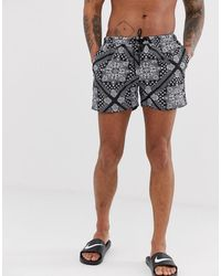 Good For Nothing - Co-ord Swim Shorts In Black Paisley Print - Lyst