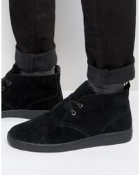 Bellfield - Borg Lined Chukka Boot In Black Suede - Lyst