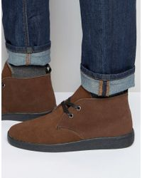 Bellfield - Borg Lined Chukka Boot In Brown Suede - Lyst