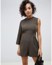 dcdf527c2790 Lyst - ASOS Jumpsuit With Cape Detail in Black