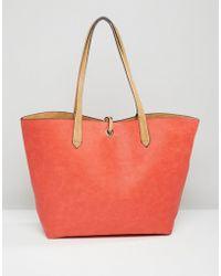 Pull&Bear - Reversible Shopper Bag - Coral - Lyst
