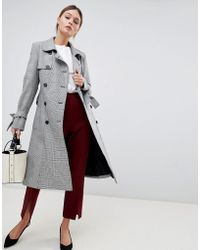 Helene Berman - Double Breasted Houndstooth Trench - Lyst