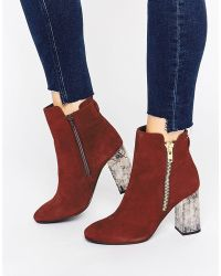 Faith - Boston Zip Marble Detail Heeled Ankle Boot - Lyst
