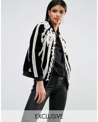 A Star Is Born - Beaded Bomber Jacket With Pearls - Lyst