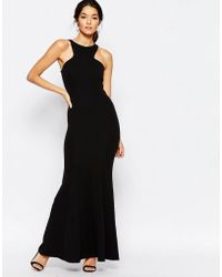 Club L - Racer Front Maxi Dress In Crepe - Lyst