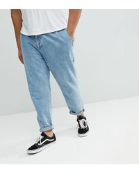 ASOS - Asos Plus Double Pleated Jeans In Mid Wash Blue - Lyst