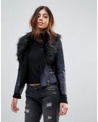 Barneys Originals Faux Shearling Coat With Deep Faux Fur Collar